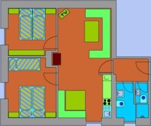 Půdoris apartmánu v penzionu Skála v Čenkovicích